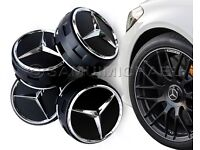 4 x AMG MERCEDES BENZ BLACK ALLOY WHEEL CENTRE CAPS NEW RAISED DESIGN STYLE