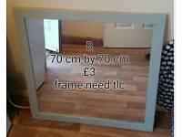 Large blue frame mirror. Need some tlc so only £3