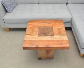 Solid wood light mango plinth square coffee table