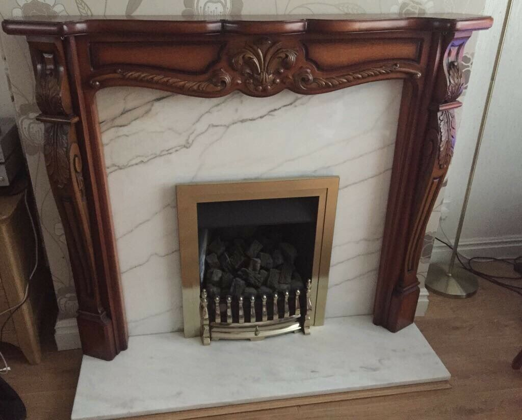 Wooden Fire Surround with Marble Background & Hearth