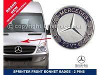 MERCEDES SPRINTER FRONT BONNET BADGE FLAT STYLE 2 PINS A6388170116