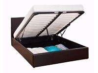 ░▒▓【EXPRESS DELIVERY】▓▒░ NEW DOUBLE LEATHER STORAGE OTTOMAN GAS LIFT BED FRAME - SINGLE/KINGSIZE