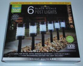 Brand New Solar Powered 6 Black Nickle Post Lights
