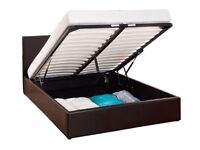 SAME DAY FAST DELIVERY ! BRAND NEW DOUBLE LEATHER OTTOMAN STORAGE BED WITH DEEP QUILT MATTRESS