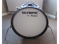 OLYMPIC 20 inch x 14 inch BASS DRUM Blue Silk Pearl 1970's Vintage By Premier Drums