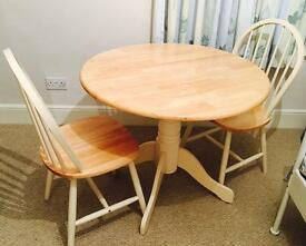 Country Style Drop-Leaf Kitchen/Dining Table + 2 Chairs