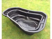 500 litre pre formed plastic pond and pond filter £90