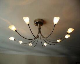 Chrome 10-lamp ceiling light