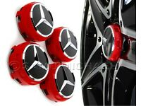 4 x AMG MERCEDES BENZ RACING RED ALLOY WHEEL CENTRE CAPS NEW RAISED DESIGN STYLE