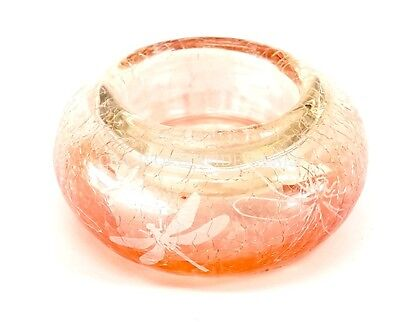 NEW Yankee Candle Orange Crackle Glass Dragonfly Tealight Candle -