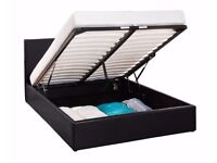 ** TOP SELLING BRAND ** BRAND NEW GAS LIFT UP STORAGE Double LEATHER BED & WIDE RANGE OF MATTRESS