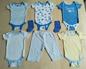 Brand New 7 Piece Matching Space Print Baby Clothes Bundle Set 12 Months