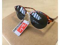 RAY-BAN Clubround sunglasses tortoiseshell / havana black gold clubmaster round half mens unisex