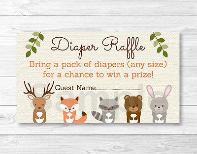 Woodland Forest Animals Baby Shower Diaper Raffle Tickets Printable - Baby Shower Diaper Raffle