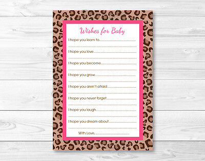 Pink Cheetah Print Party Supplies (Pink Cheetah Print Printable Baby Shower Wishes for Baby Advice)