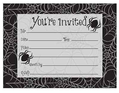 Black Spider Web Haunted House Carnival Halloween Party Invitations w/Envelopes