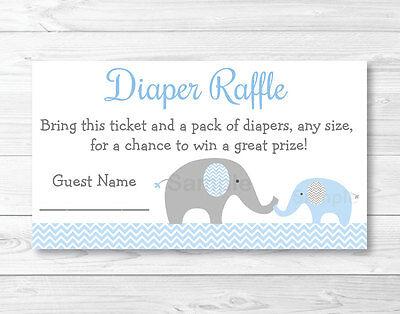 Blue Chevron Elephant Printable Baby Shower Diaper Raffle Tickets - Baby Shower Diaper Raffle