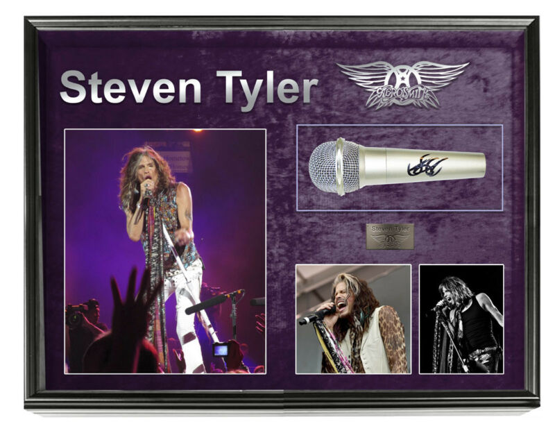 Aerosmith Steven Tyler Signed Microphone + Display Shadowbox Custom Case
