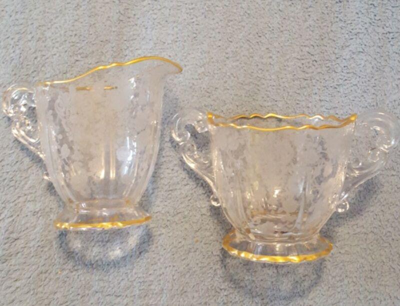 Vtg Elegant Depression Glass Cambridge Rose Point Clear Gold Trim Cream & Sugar