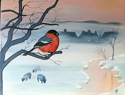 Bull Finch mixed media canvas