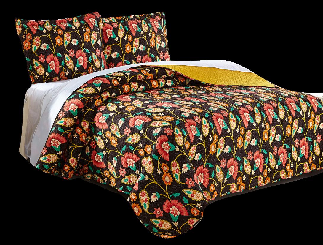 DaDa Bedding Bohemian Floral Honey Yellow Brown Quilt Bedspr