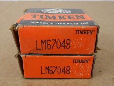 Lot 2 Nib Timken Lm67048 Tapered Roller Bearing Cone 1.25 X 0.66 6 Lots Aval