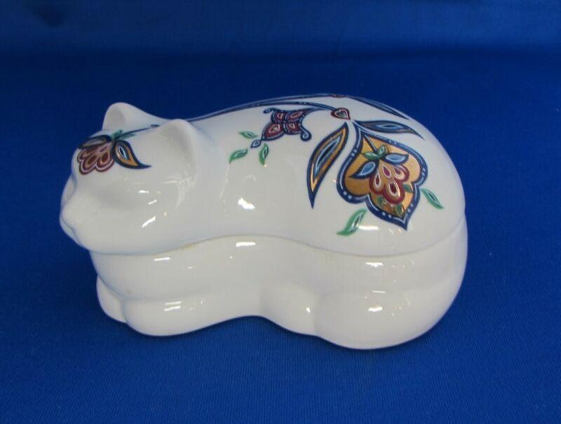 Vintage 1980s porcelain cat trinket box Elizabeth Arden
