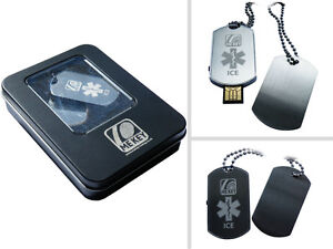 Biker ID Dog Tags from MEkey ICE usb medical alert in tin