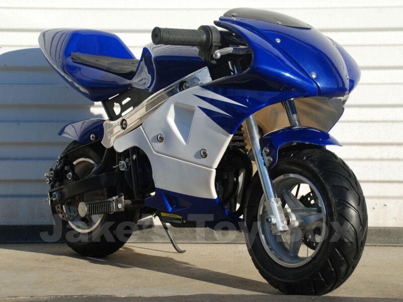 Gas Powered Kids Mini Pocket Rocket 40cc Pocket Bike - Blue