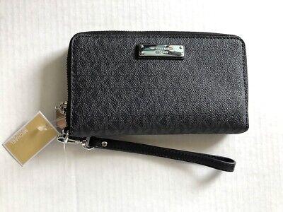 NWT Michael Kors Jet Set Travel Logo Phone Wallet Wristlet Purse Black Grey MK