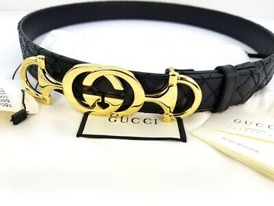 NWT Authentic Skinny Black Quilted Leather Gucci Belt w/ Horsebit Gold Size 80