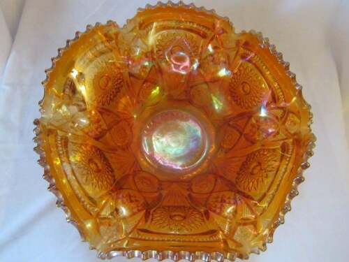 Vintage ornate marigold opalescent carnival glass large wavy bowl