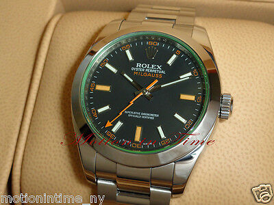 Rolex 116400V Milgauss Green Crystal Stainless Steel 40mm Rare Model
