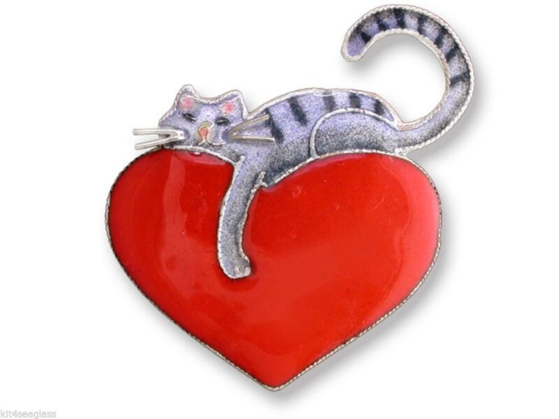 Kitty Cat Love Pin, Zarah, Cat on Red Heart, Sterling Silver, Hand Painted