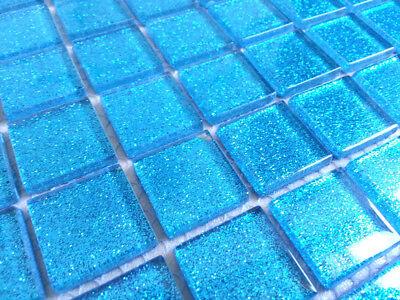 Klein Muster Blau Glasmosaikfliesen mit Glitzereffekt, glänzend (MT0008)