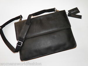 Kenneth Cole New York Men's Black Leather Under arm Slim Brief Briefcase Bag NWT