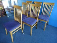 6 DINING CHAIRS MAPLE TIMBER FEDERATION MAUVE MICROSUEDE SEATS VG Geebung Brisbane North East Preview