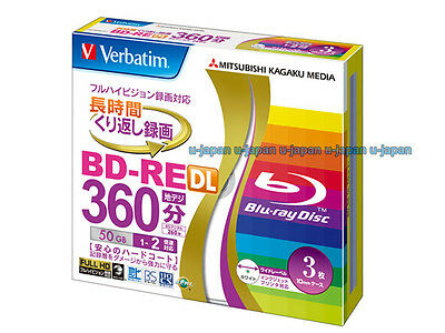 3 Verbatim Bluray 50GB 2x Blank Rewritable Bluray Inkjet Printable BD-RW Repack