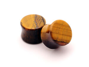 Pair-of-Tiger-Eye-Stone-Plugs-set-gauges-PICK-SIZE-organic