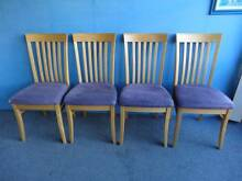 4 DINING CHAIRS MAPLE TIMBER FEDERATION STYLE MAUVE SUEDE SEATS Geebung Brisbane North East Preview