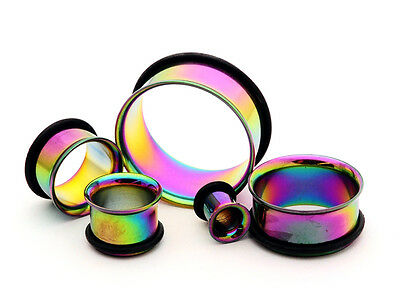 Pair of RAINBOW Steel Single Flare Tunnels set gauges plugs PICK -