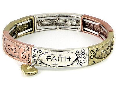 - 4031410 Faith Hope Love Tri Tone Stretch Bracelet Heart Charm 1 Corinthians S...