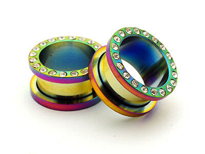 Pair Rainbow CZ Screw on Tunnels gauges plugs PICK -