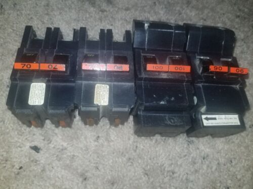 LOT OF 4 100 90 70 amp Federal Pacific FPE Stablok 2 Pole circuit breaker NA