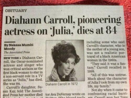 OBITUARY DIAHANN CARROL  1935-2019 PIONEERING ACTRESS TV MOVIES JULIA DYNASTY