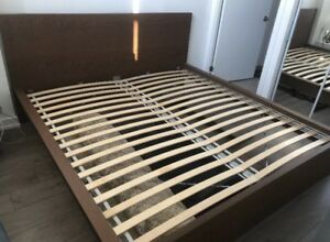 King bed frame, brown stained ash veneer