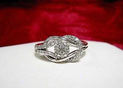 925 STERLING SILVER DIAMOND KNOT SWIRL FASHION RING SIZE 7 Diamond Swirl Fashion Ring