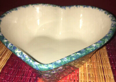 Vintage Workshops of Gerald HENN Pottery Blue & Green Double Sponged Heart Bowl