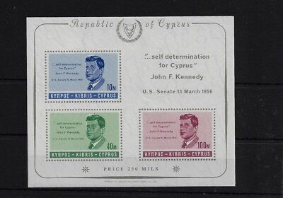 CYPRUS MS258A, 1956 PRESIDENT KENNEDY COMMEMORATION MNH