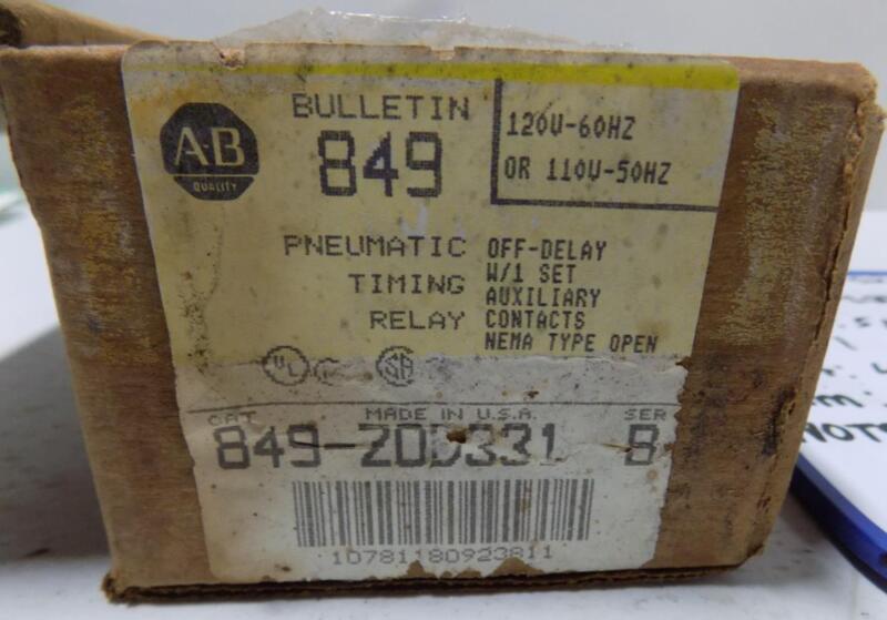 ALLEN BRADLEY BULLETIN 849 120V PNEUMATIC TIMING RELAY 849-Z0D331 SER. B NIB